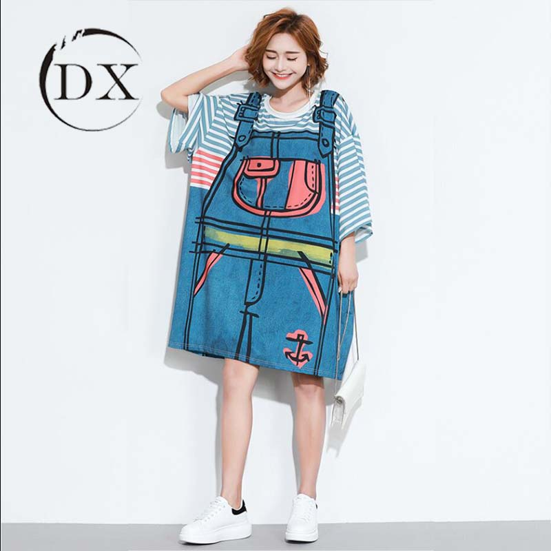 Woman Lady Girl Summer Casual Plus Size Striped 3d Printed T Shirt Dress -  Buy Cartoon Printed Dresses,Oversized 3d Printed T Shirt Dress,Summer ...