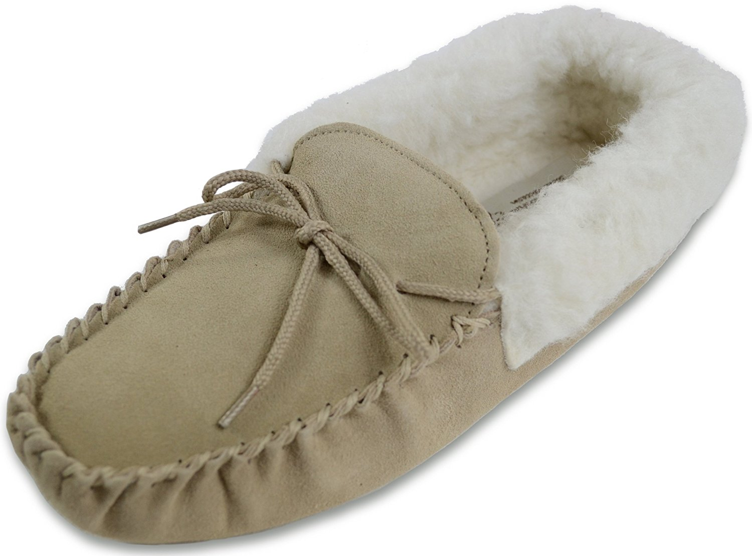 LADIES GENUINE SHEEPSKIN MOCCASIN SLIPPER HARD SOLE WOOL CUFF PINK