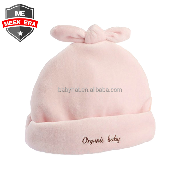 Plain pink blue soft headwear organic baby polar fleece bunny beanie hat