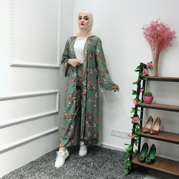 High quality  newest two-piece set muslim dress soft crepe cute  fashion abaya