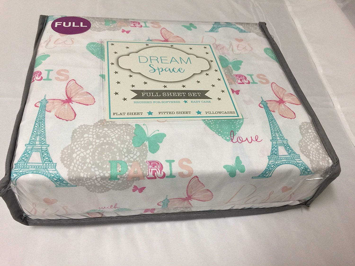 Dream Space 4-Piece FULL Sheet Set, Paris Love Eiffel Tower Hearts Butterfly ~ Pastel Green, Pink, Cream