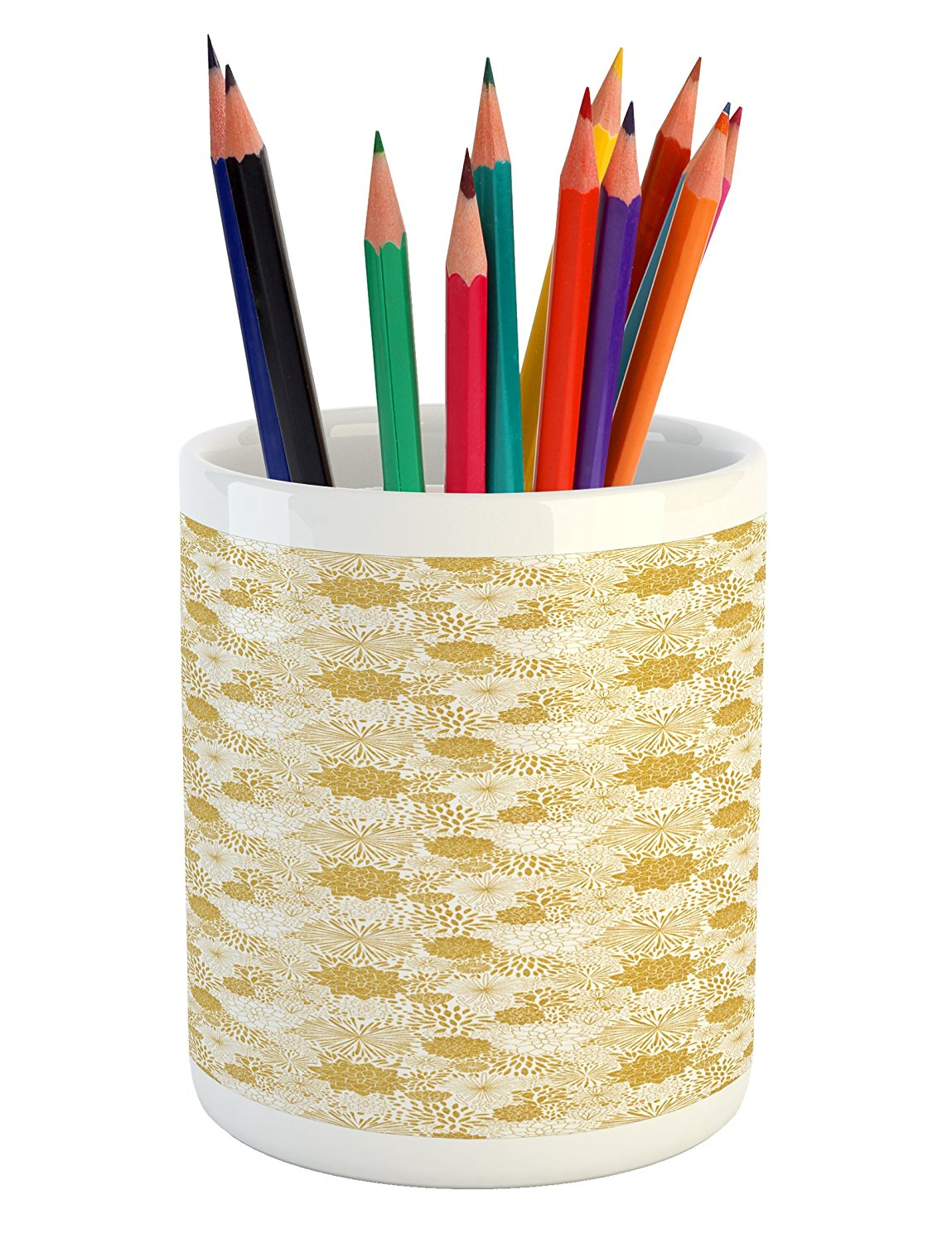 Floral Pencil Pen Holder by Ambesonne, Abstract Floral Arrangement with Blossoming Petals and Leaves Hand Drawn Dots, Printed Ceramic Pencil Pen Holder for Desk Office Accessory, Yellow and White