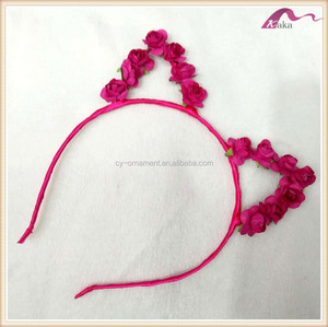 Fashion women girl cute cat rabbit ear headband,rose flower costume ball women hair jewelry