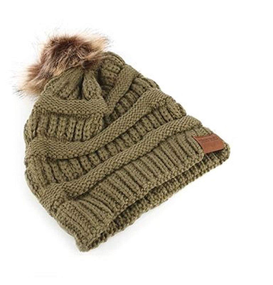 8f30f1ae0cf Get Quotations · RI001 Faux Fur Pom Pom Knit Winter Beanie in Green