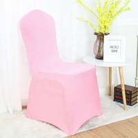 Pink 100% polyester New style colorful wedding party banquet Strong Elastic spandex chair cover