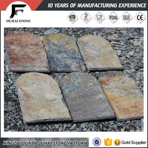 Popular U shape rusty color slate stone tiles raw material roofs and roof coverings