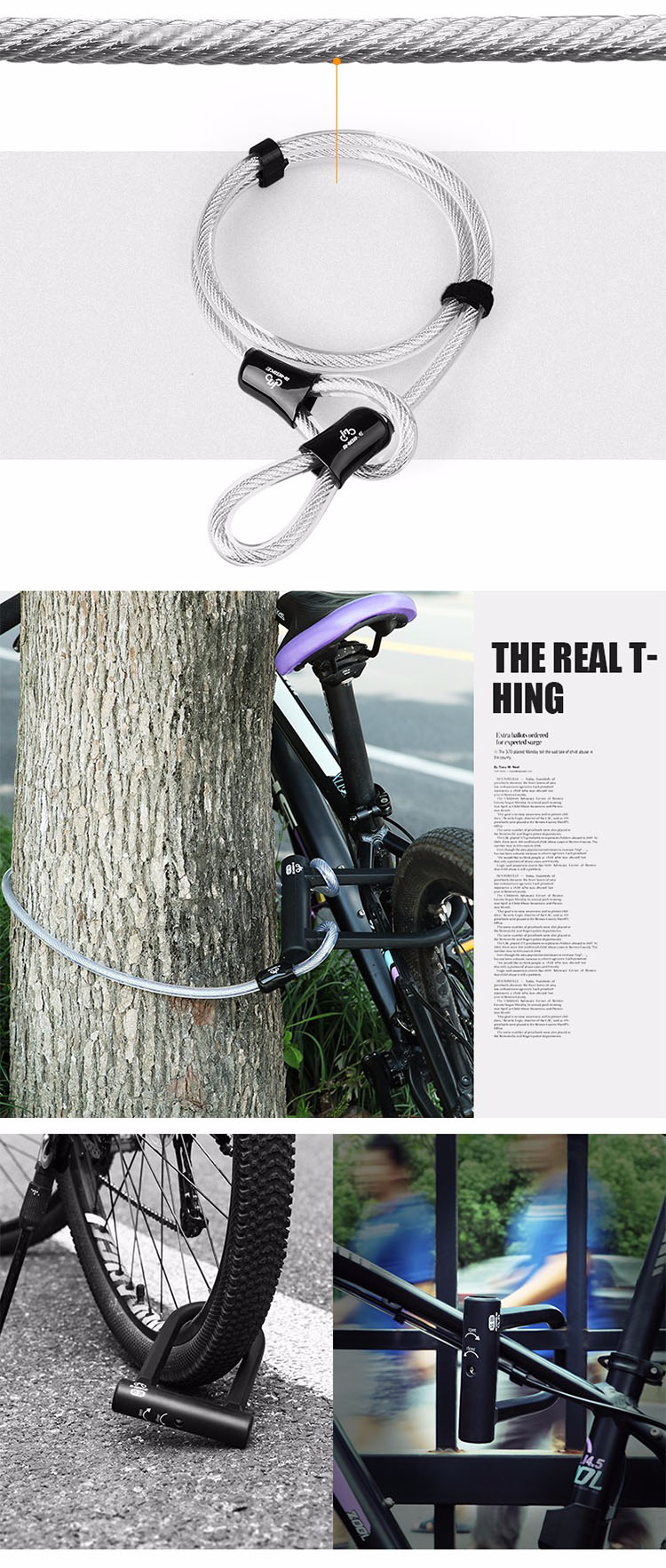 INBIKE Hight Safety Durable bike U Lock with Cable Lock