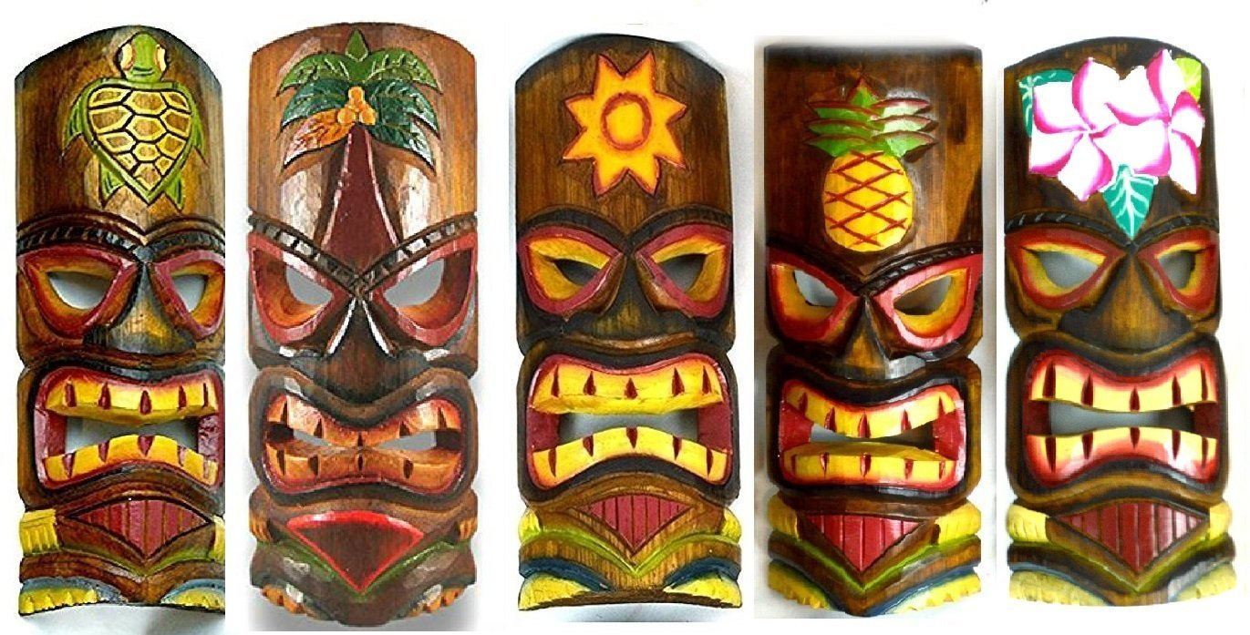 buy set of 10 hand carved polynesian hawaiian tiki style masks 12 in