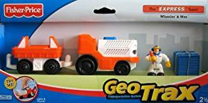 Fisher Price Geotrax Lights & Sounds Vehicles The Express Team Meet Wheeler & Wes - Airport Baggage Car