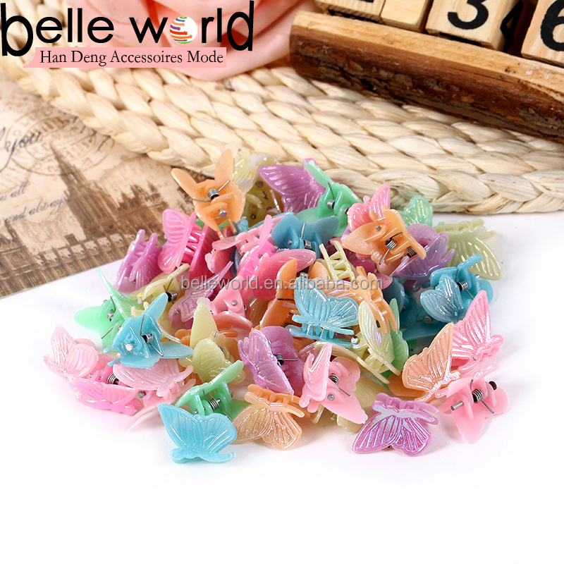 wholesale kids colours butterfly small size plastic hair claw clip