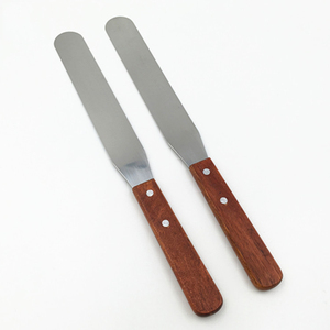 Customized 8 inch wooden handle metal spatula cake pastry butter tool baking knife tool stainless steel spatula