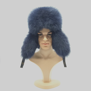 Custom large russian mens leather winter fur hat