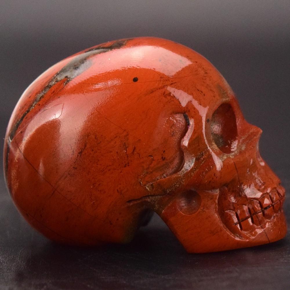 natural carved 2 inch Red Jasper gemstone skull for healing, reiki, decor