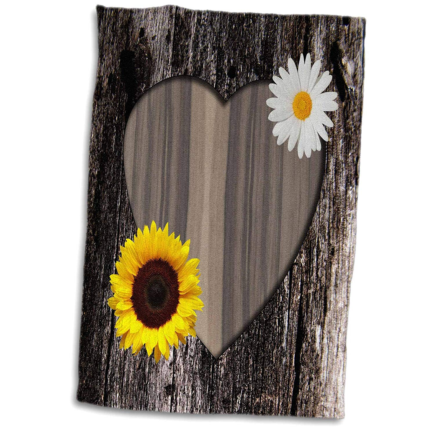 3dRose Janna Salak Designs Rustic Designs - Wood Image Heart with Sunflower and Daisy - 15x22 Hand Towel (twl_181828_1)