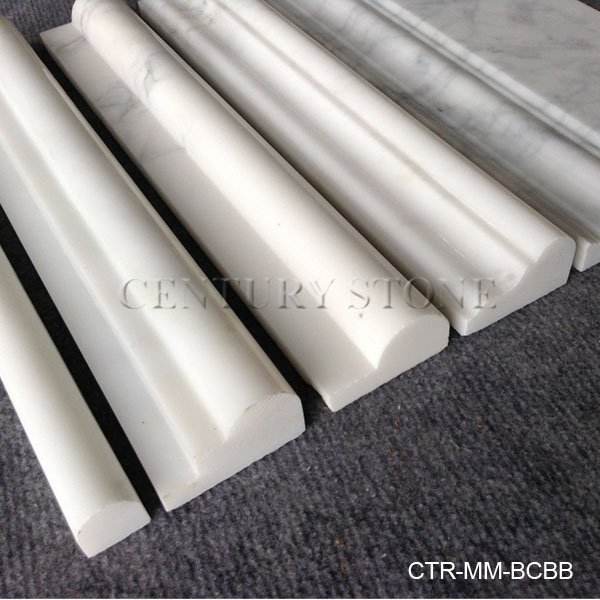 First class Bianco carrara white natural marble polished wall chair rails