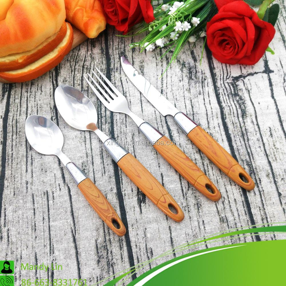 China Supplier Wooden Plastic Handle Cutlery Set Stainless Steel Flatware