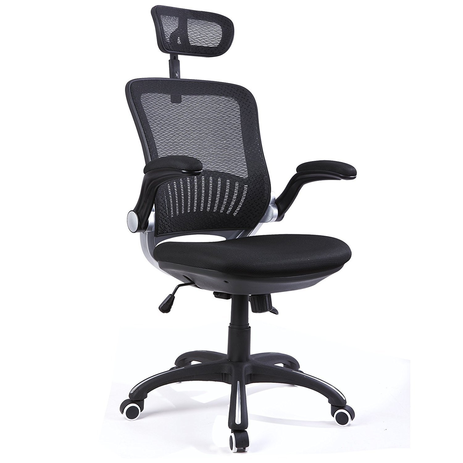 H&L Office High Back Mesh Multi-Functional Executive & Managerial Computer Desk Swivel Office Chair with Recliner, Adjustable Headrest and Flexible Arm Rest (Executive Black)