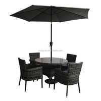 2017 Trade Assurance outdoor treasure used rattan garden table set with sun umbrella