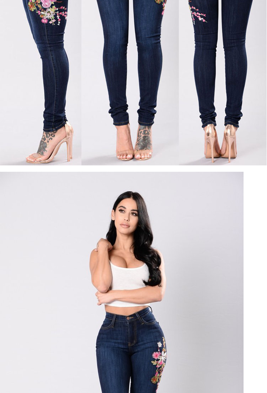 b299ee44985 Women s Fashion Embroidered Feet High-elastic Jeans Blue Holes ...