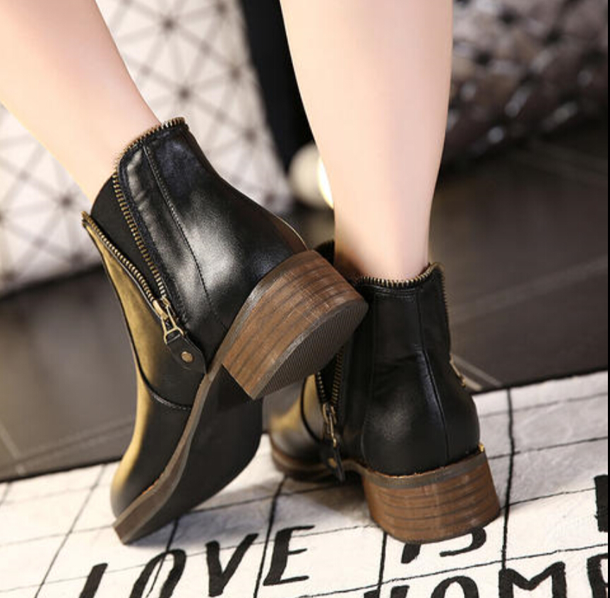 2016 winter leather boots flet shoes side short boots lady