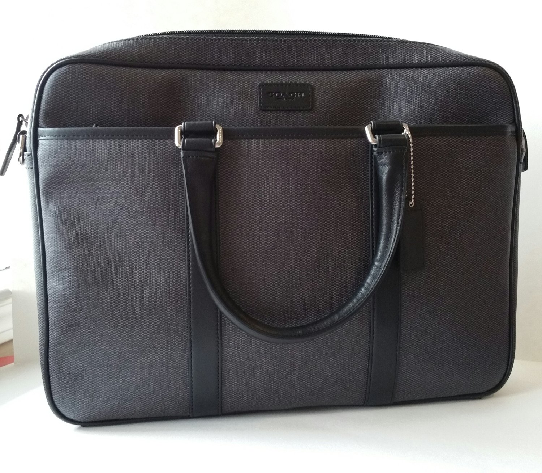 5d476ea29341 Get Quotations · Coach Mens Slim Briefcase Laptop Top Handle Crossbody  Travel Laptop Bag F71389