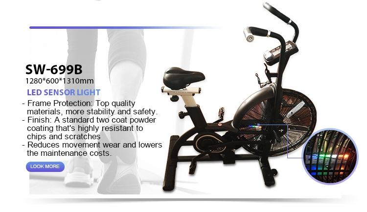 Quality black exercise airbike fitness equipment