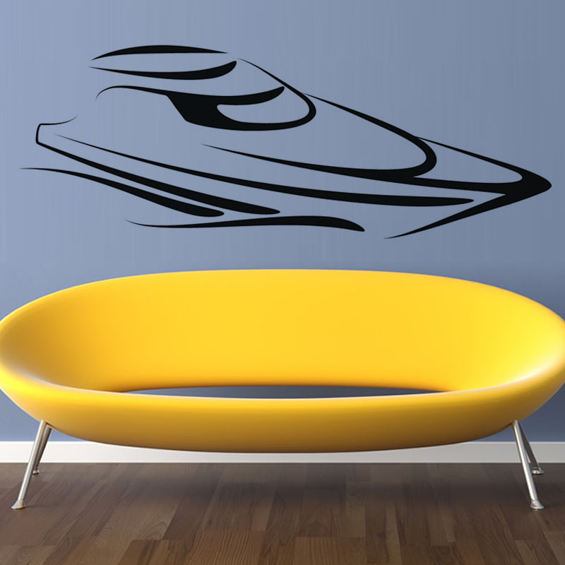 Simple Delineative Abstract Speed Boat Wall Sticker Art Vinyl Home Decor Removable Wall Decal For Living Room