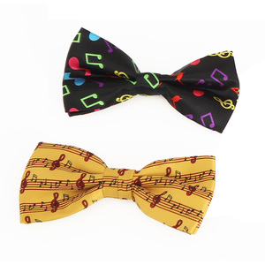 Top quality music note design event silk printed bowtie