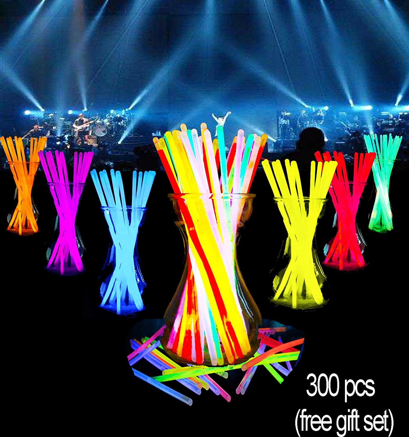 """Glow Sticks Bulk-300 Count-8"""" Glow Necklace Bracelets Party Game Sparklers Supplies Packs Favors In The Dark For Birthday Wedding Halloween For Kids Games Light Up Stick Gifts Bag (300 pcs)"""