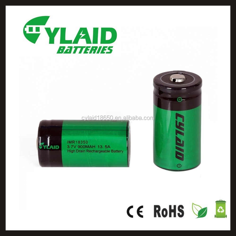 High quality 13.5a 900mah imr battery Cylaid 18350 IMR battery cell battery 18350 900mah for electronic smoke