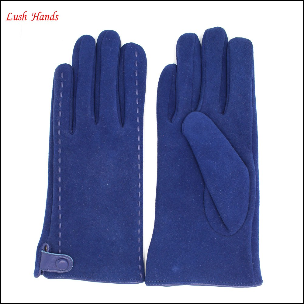Women's blue pigsuede leather gloves to make fashion and warm