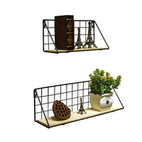 Nordic ins simple creative iron mesh solid wood wall shelf home decorative wall hanging
