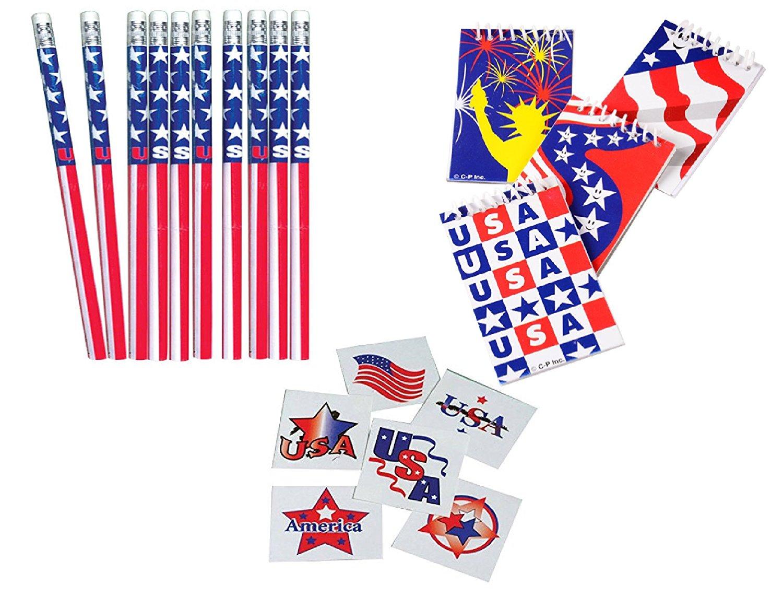 Awesome 168pce. Stars & Stripes Patriotic Party Favors / 12 Patriotic Pencils / 12 Stars & Stripes/USA Mini Notebooks & 144 USA Tattoos