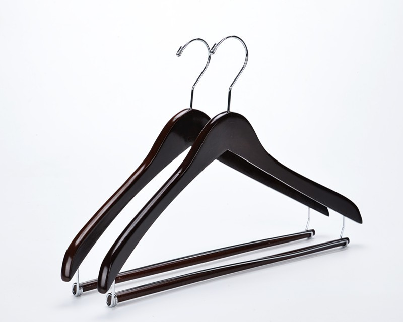 Inspring Wooden Hangers Beautiful Sy Suit Coat With Locking Bar Mahogany