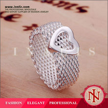 2015 wholesale silver plated lady's heart imprint ring R043