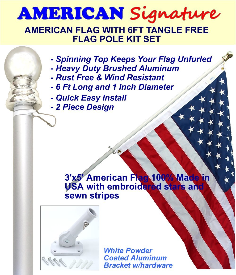 Flag Pole Kit - Includes 3x5 ft American Flag Made in USA, 6 Foot Tangle Free Flag Pole, and Flagpole Bracket