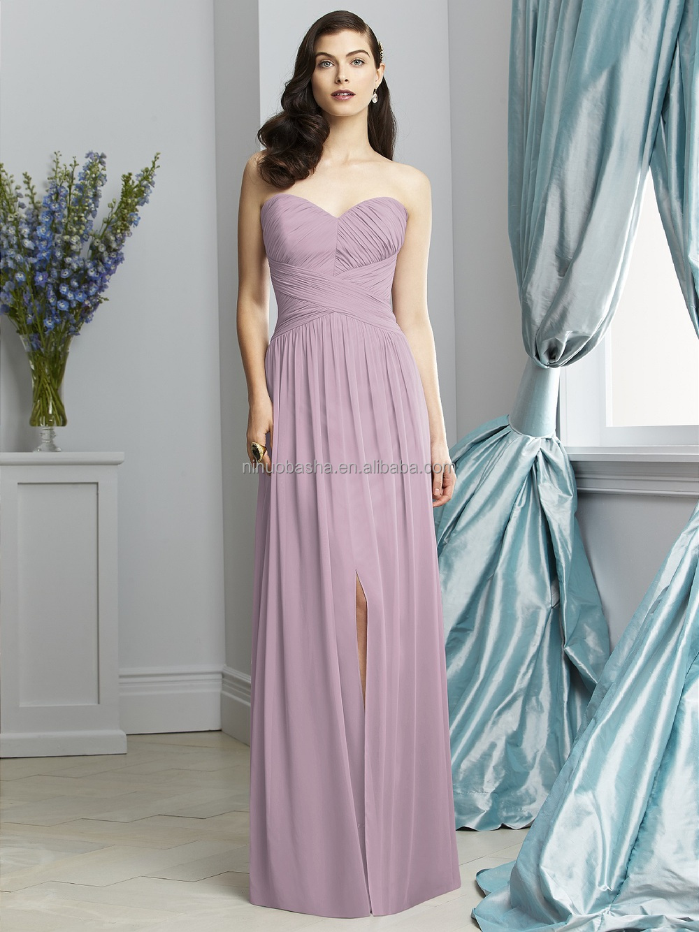 2015 light purple long bridesmaid dress sweetheart full length 2015 light purple long bridesmaid dress sweetheart full length criss cross ruched bodice front ombrellifo Images