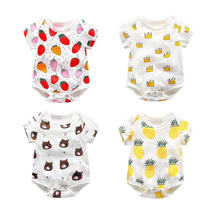 Lovely Baby Boy Girl Clothes Short Sleeve Organic Cotton Baby Romper