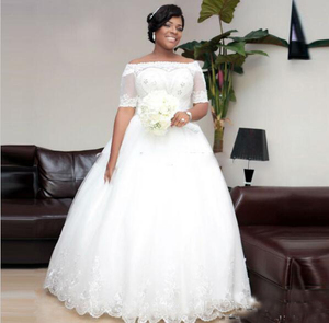 8e312cd86de56 NE264 Plus Size Wedding Dress African Dubai Style Off The Shoulder Short  Sleeves Wedding Gowns With