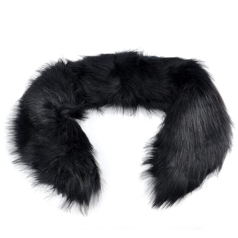 GQMART Fashion Trendy Winter Women Warm Faux Fur Collar Shawl Wrap Neck Scarf Shrug Black