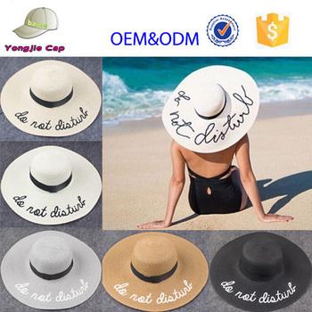 7d1fd14be7a Custom Fashion Women s Summer Beach Foldable Adjustable Letter Embroidery  Panama Floppy Wide Brim Sunbonnet Straw Hat