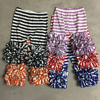 2019 Girls Clothing Ruffles Pants with 100% Cotton Stripe Iced Leggings Boutique Design
