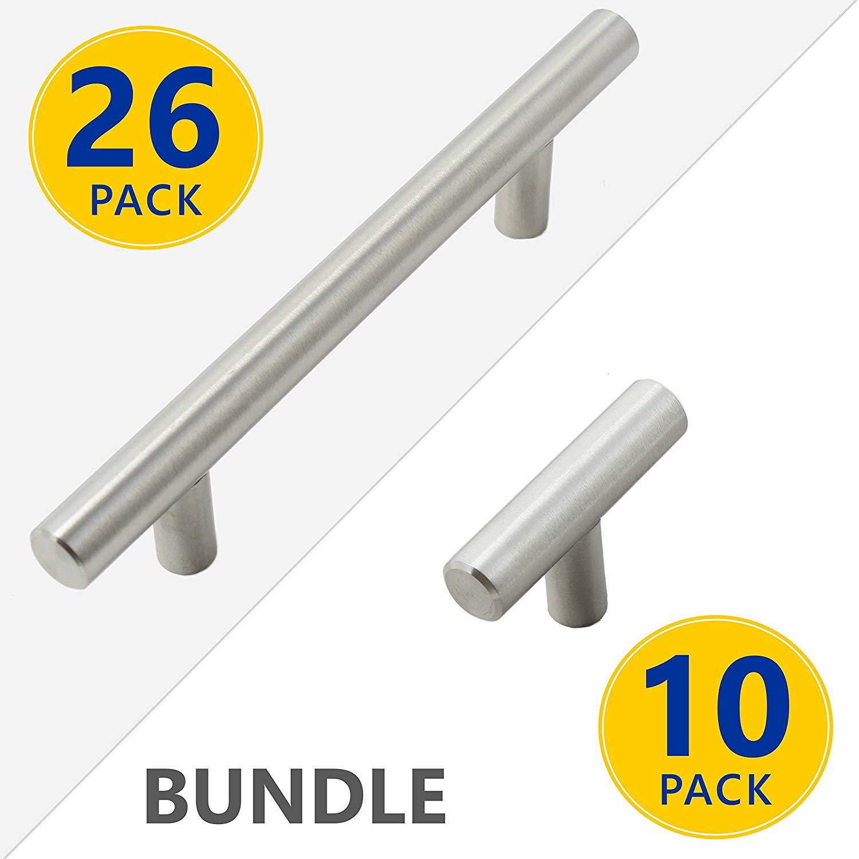"36 Pack Bundle Set: 26 Pack 6"" Stainless Steel T Bar Pull Handles 3.75"" Center (3-3/4"" 96mm) PLUS 10 Pack T-Handle Style Knobs | Brushed Satin Nickel Kitchen Cabinet Door/Drawer Hardware"