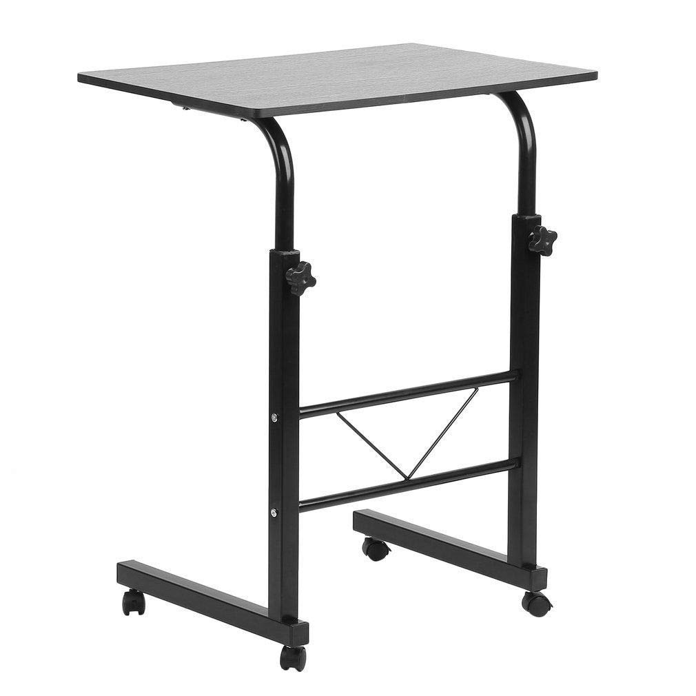 HMhome Desk Laptop Cart Storage Mobili Deluxe Rolling Computer Foldable Table Notebook Stand Adjustable Height Tray Adjustable PC Home Office Workstation - Black
