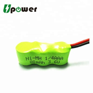 3.6V 80mAh nimh Rechargeable Battery 1/4AAA 1/3AAA Customized Ni-MH Battery Pack