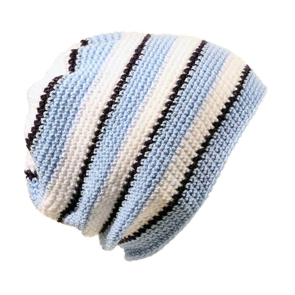 POM London Handmade Crochet Baggy Beanie Hat (Blue, White, Navy)