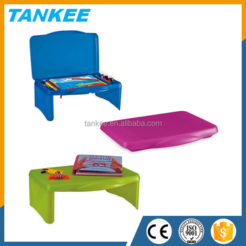Kids Portable Folding Lap Desk Laptop Table Box With Storage Compartments For Pens