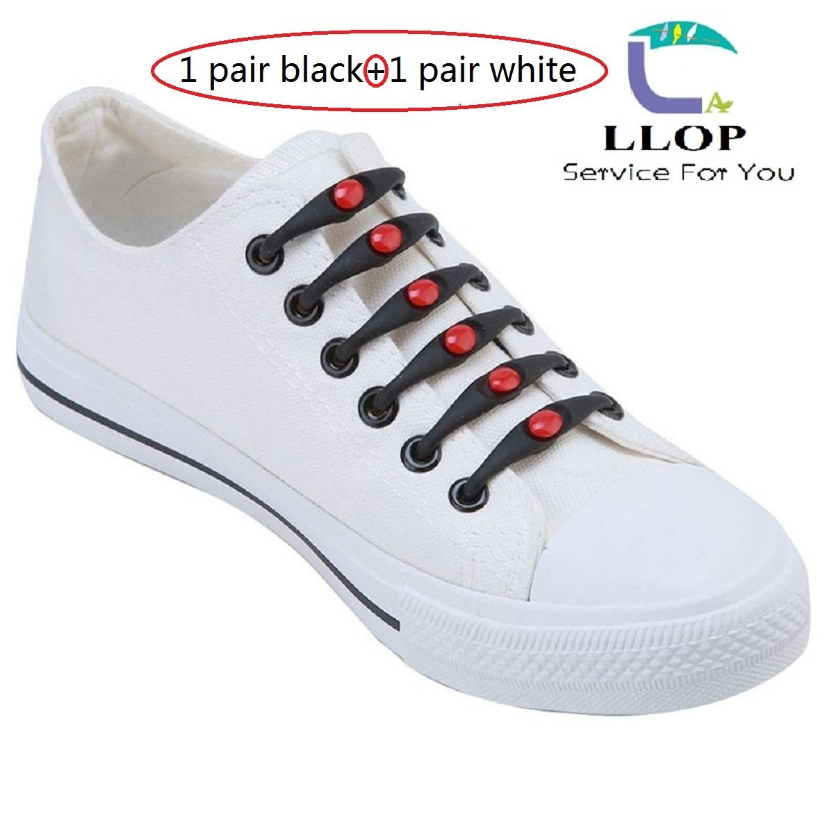 4aa0ed91a558 Get Quotations · LLOP Silicone Elastic No Tie Shoelaces Lock Bands  -Waterproof Flat Elastic Athletic Running Fan Shoe