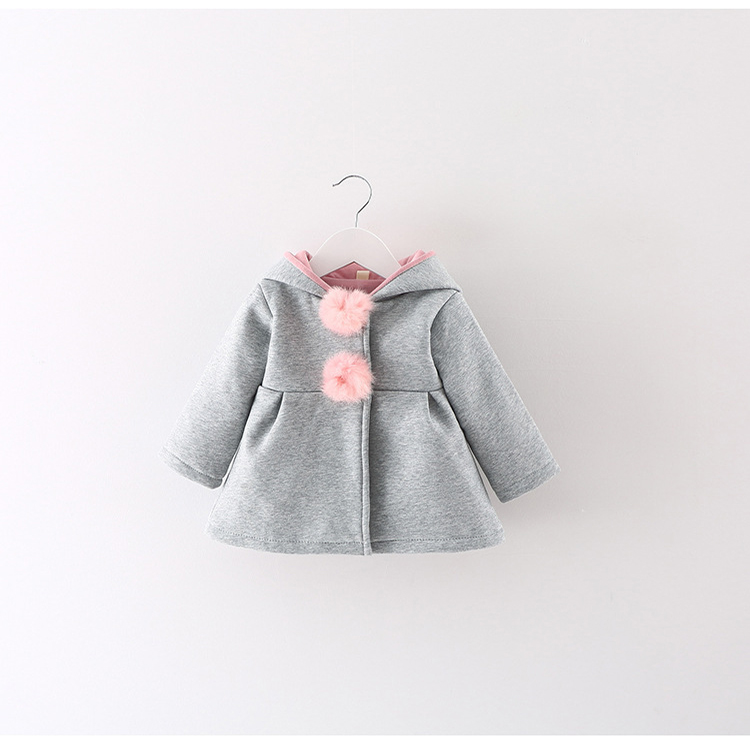 Hot Sales Fall Winter Warm Baby Girls Clothes Fashion Rabbit Ear Hooded Girls Coat Sweet Girls Jacket Outerwear