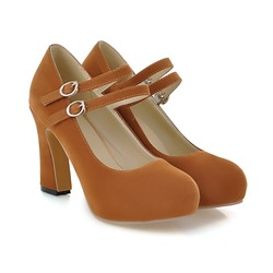 Wholesale Mary Janes 9.5cm High Heels Faux Suede Pumps Sexy ...